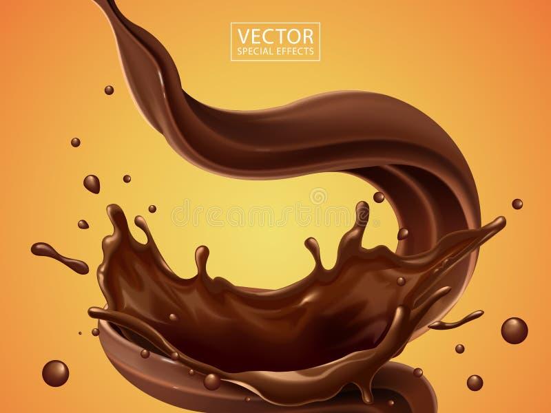 飞溅和旋转巧克力 皇族释放例证