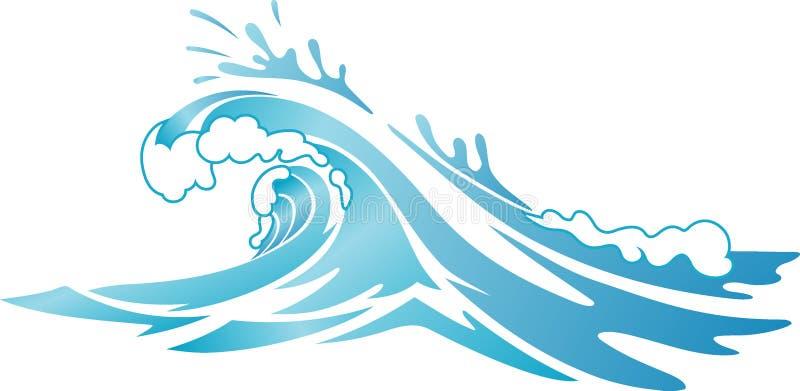 飞溅在侧视图的海浪波浪 向量例证