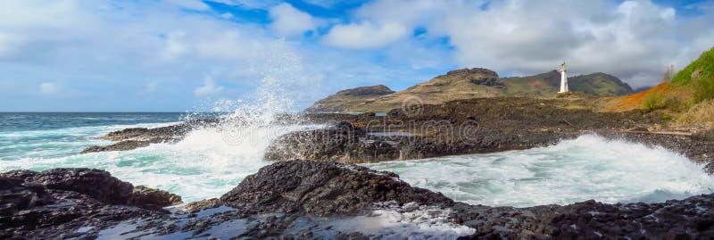 飞溅在岩石岸的波浪全景在Kukii点灯塔,Kalapaki,考艾岛,夏威夷,美国 免版税库存照片