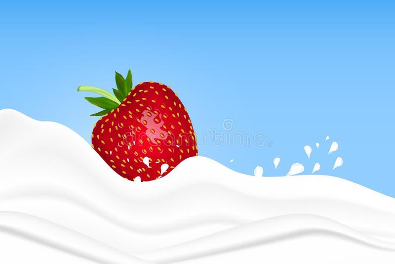 飞溅在牛奶的草莓在桃红色背景 果子和酸奶 可实现轻快优雅的例证 向量例证