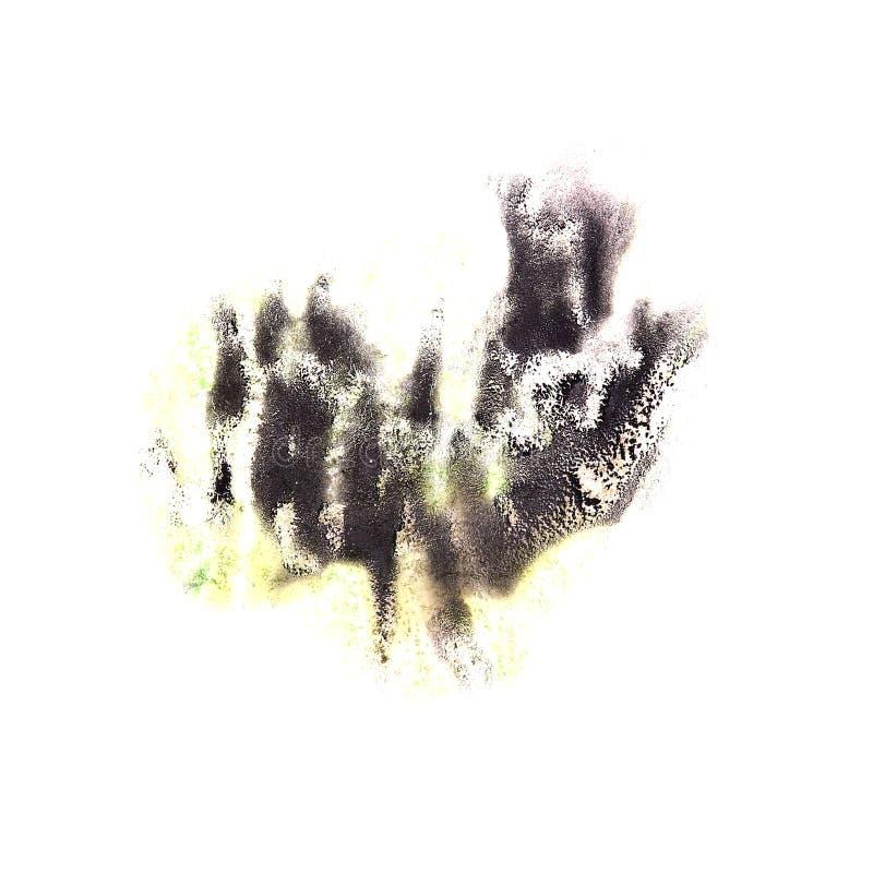 绘黑飞溅墨水污点水彩一滴斑点 皇族释放例证