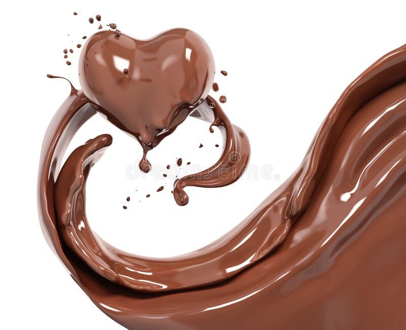 飞溅巧克力抽象背景,巧克力心脏3d 皇族释放例证
