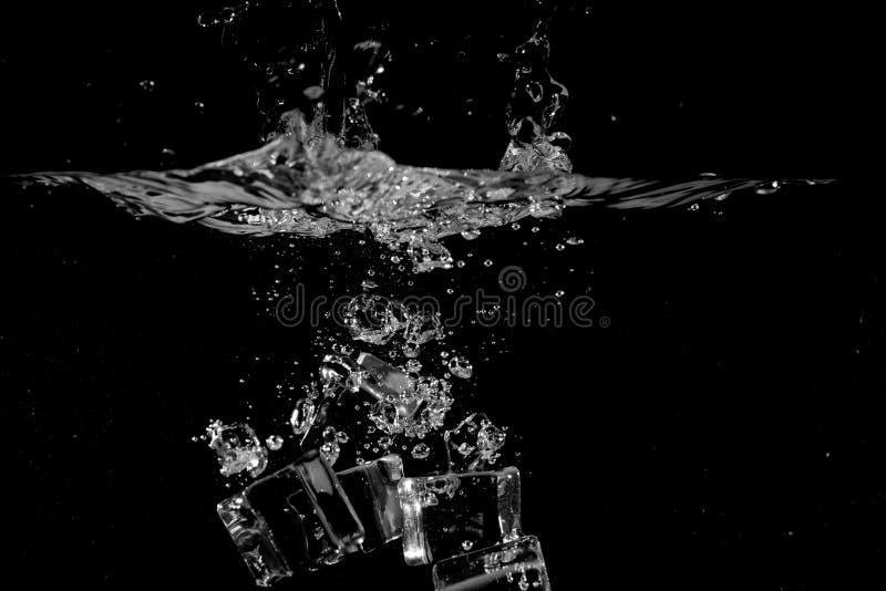 飞溅水在黑背景使用作为自然本底 免版税图库摄影
