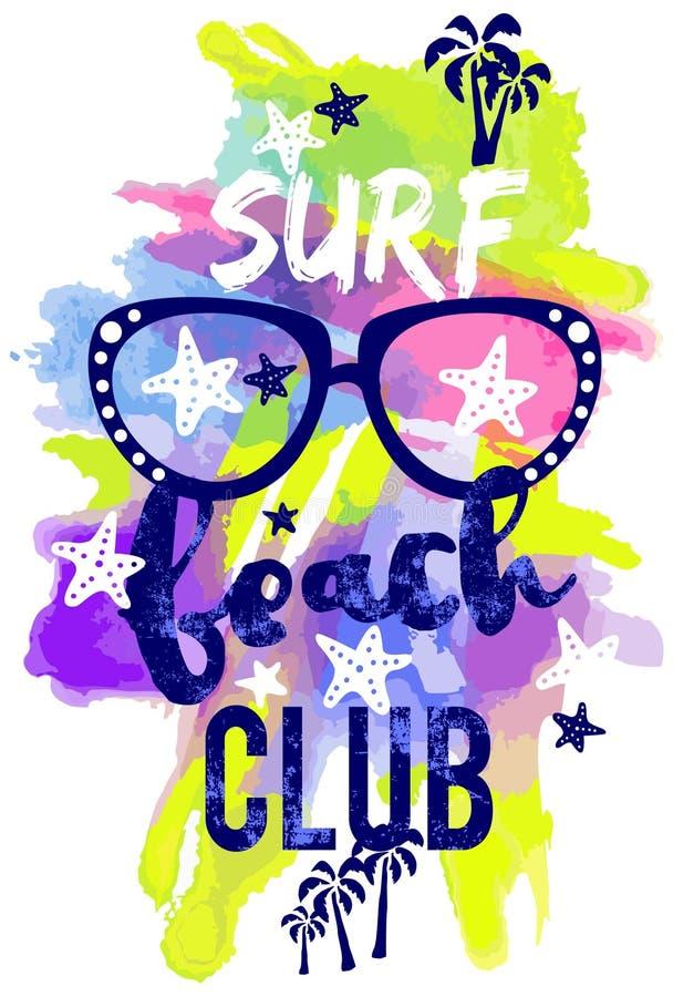 飞溅海浪海滩俱乐部印刷术设计, T恤杉设计 库存例证