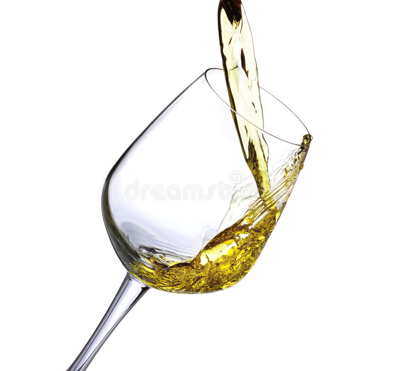 飞溅白葡萄酒 图库摄影