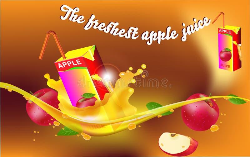 飞溅苹果 苹果汁广告 向量例证
