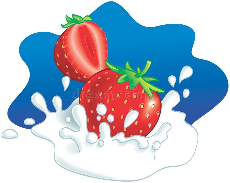 飞溅草莓的牛奶 皇族释放例证