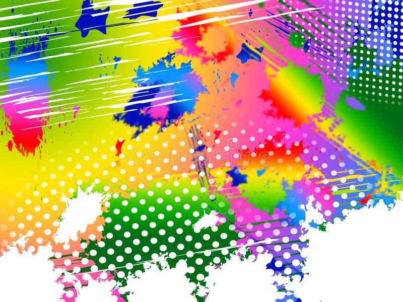 飞溅颜色表明油漆颜色和绘画 库存例证