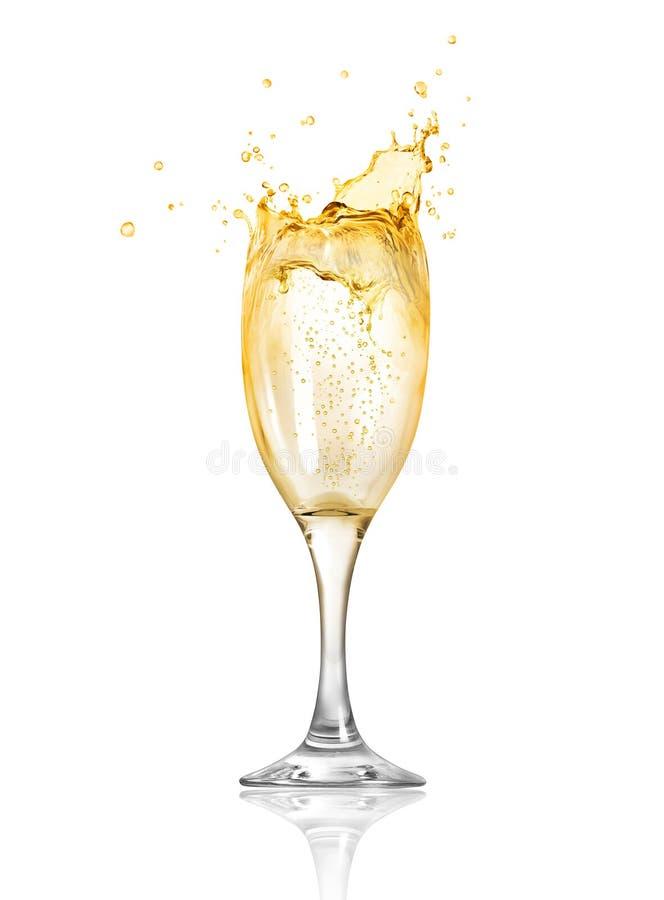 飞溅香槟飞溅在玻璃外面 免版税库存图片