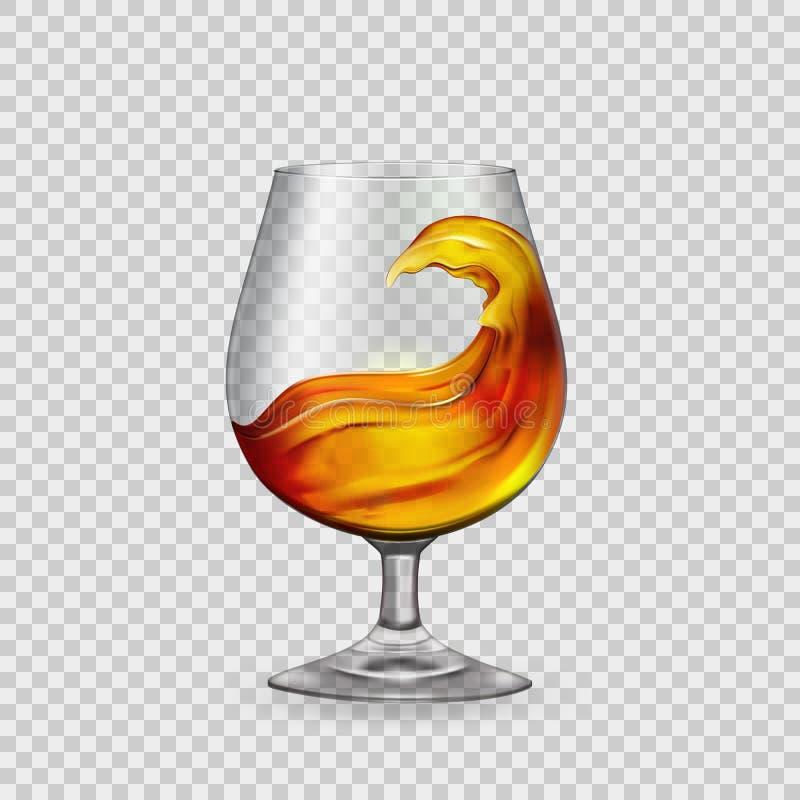 飞溅鸡尾酒,威士忌酒,在一个玻璃觚的白兰地酒,反对透明度背景  ?? 向量例证