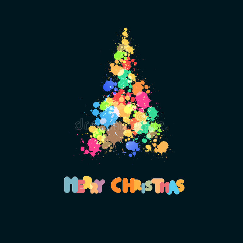 飞溅,污点在黑背景的圣诞树 库存例证
