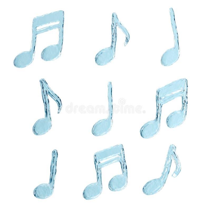 水飞溅,音乐符号集 向量例证