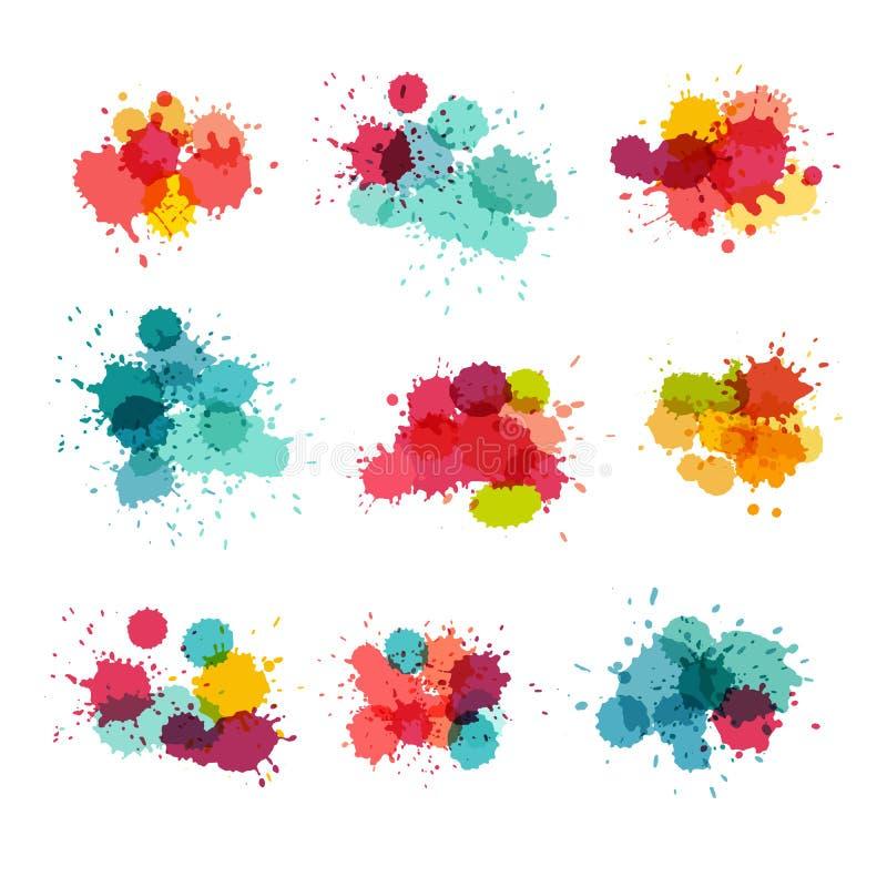 飞溅水彩 五颜六色的油漆splat 库存例证