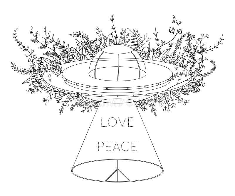 飞碟太空飞船 与光束、花和嬉皮和平标志的UFO 和平,爱标志 t的设计观念 向量例证