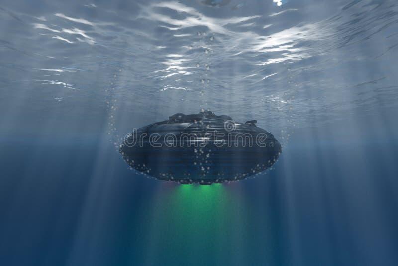 飞碟浮动水中 库存照片