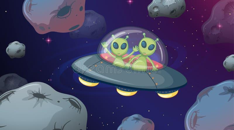 飞碟空间场面的外籍人 皇族释放例证