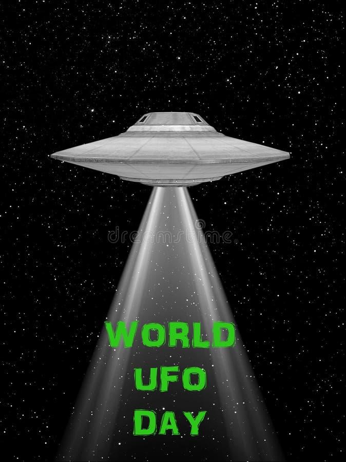 飞碟飞行太空飞船 世界飞碟天 飞碟 与光的rappresentation和飞碟 皇族释放例证