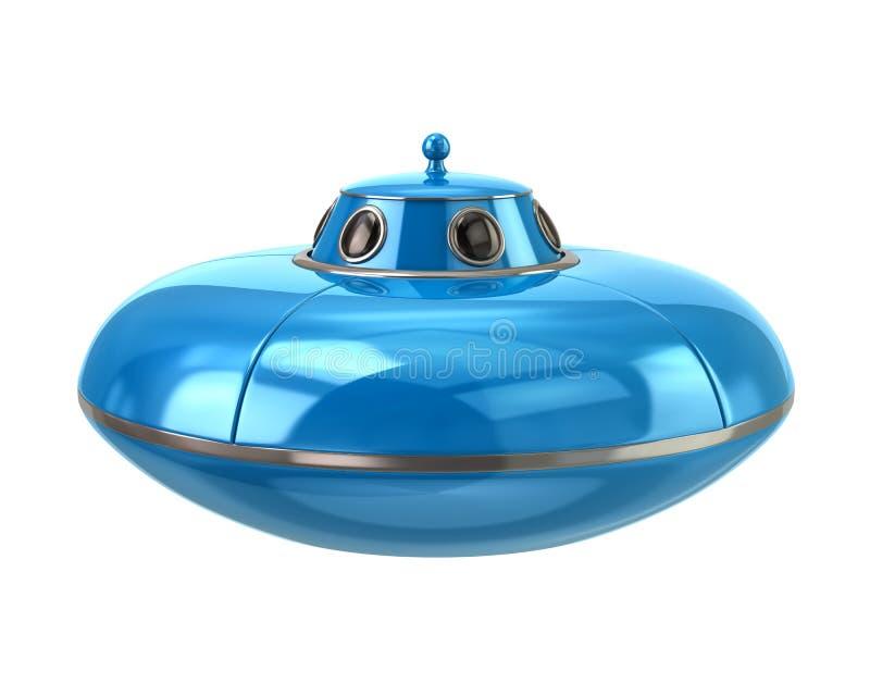 飞碟-蓝色外籍人太空飞船3d例证 向量例证
