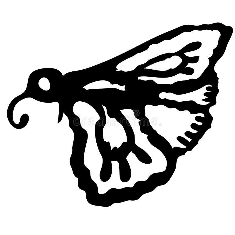 飞蛾,夜蝴蝶 在黑样式传染媒介标志股票等量例证网的虫害飞蛾唯一象 向量例证