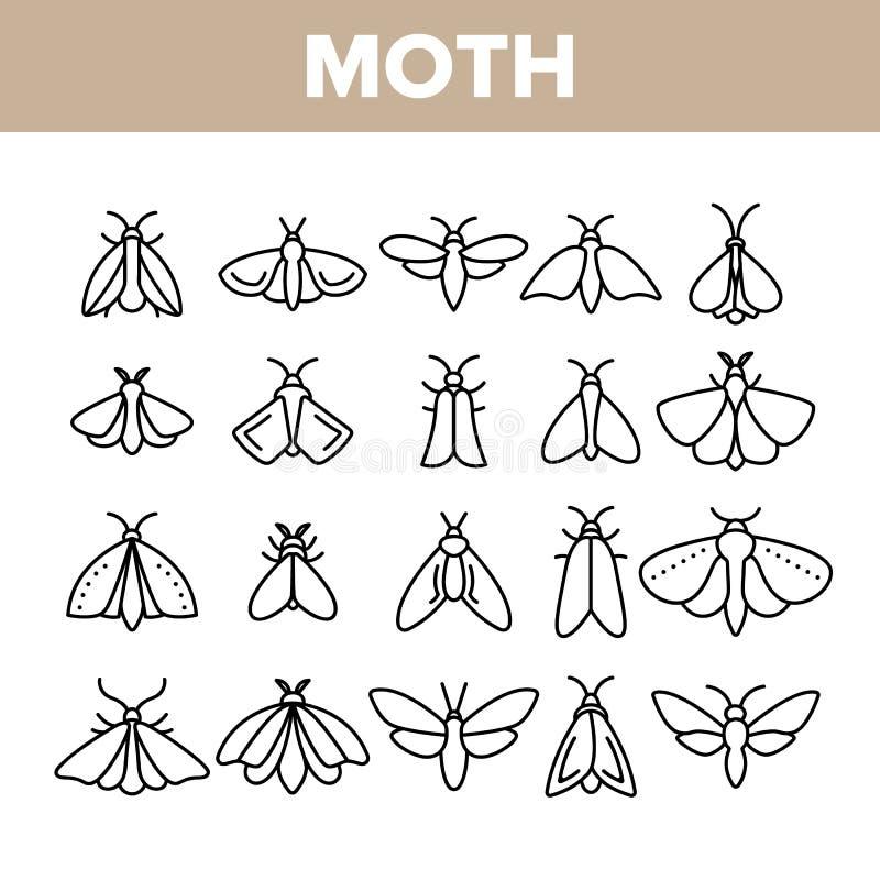 飞蛾,昆虫昆虫学家汇集传染媒介线性象集合 向量例证