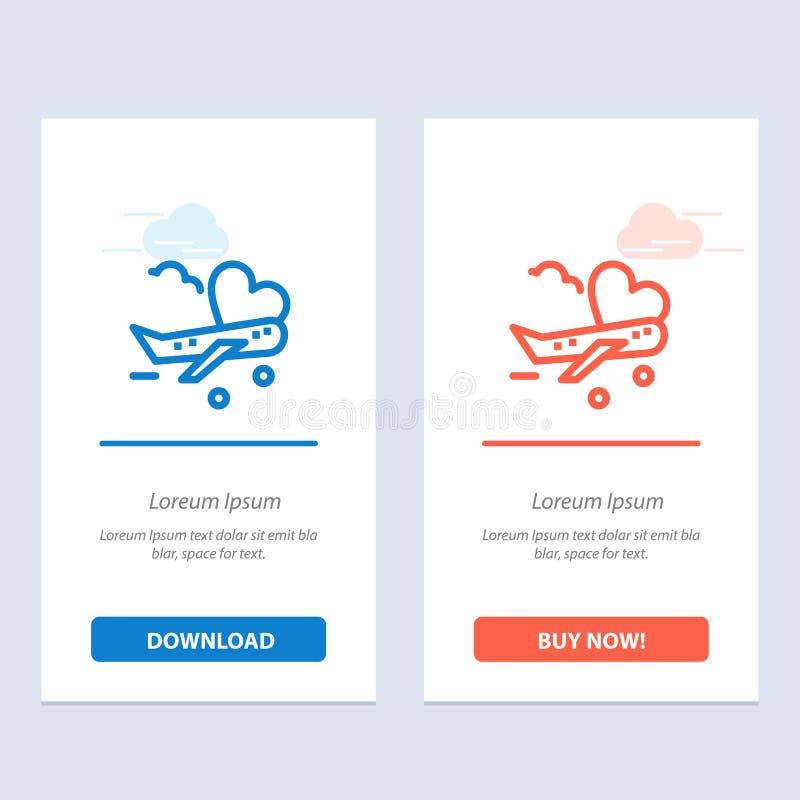 飞行、飞机、飞机、机场蓝色和红色下载和现在买网装饰物卡片模板 皇族释放例证
