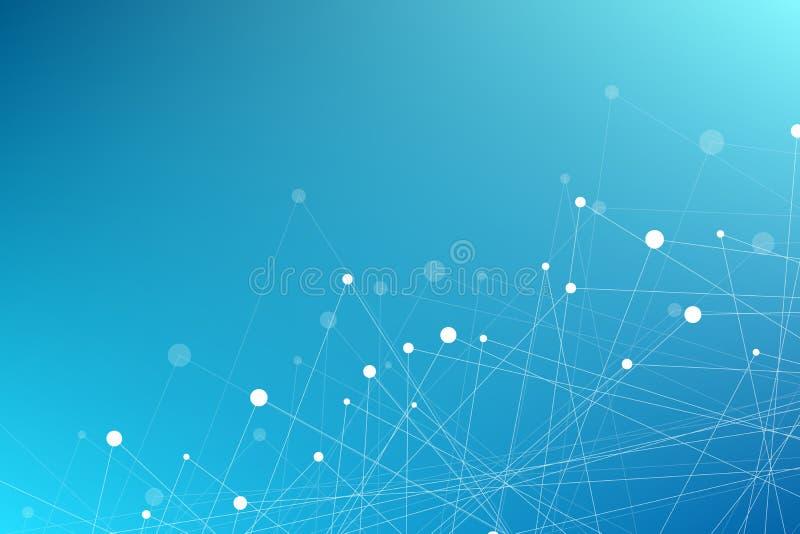 飞行三角几何蓝色背景  被连接的三角 结节 您的设计的背景 也corel凹道例证向量 库存例证
