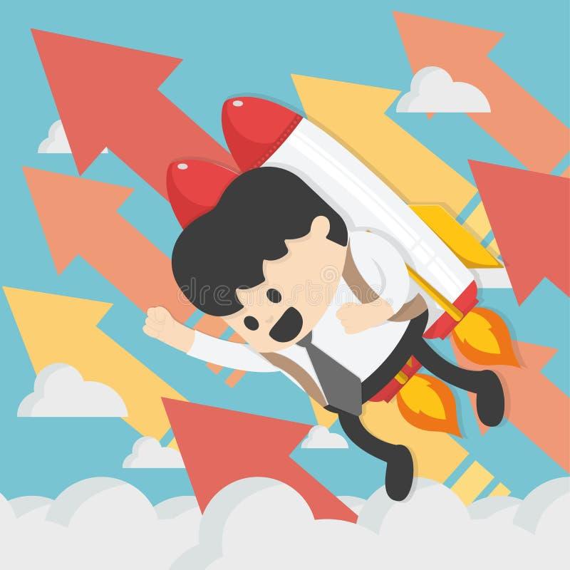 飞行与喷气机组装传染媒介平的illust的快乐的商人 库存例证