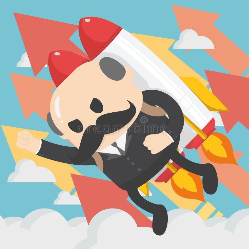 飞行与喷气机组装传染媒介平的illustrati的商人上司 库存例证