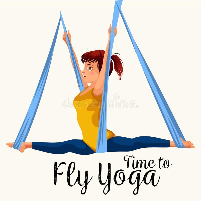 飞行与女孩的瑜伽平的海报做单腿国王或被倒置的鸽子空中姿势在吊床传染媒介的运动服的 库存例证