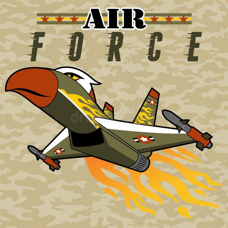 飞行与导弹的喷气式歼击机动画片 向量例证
