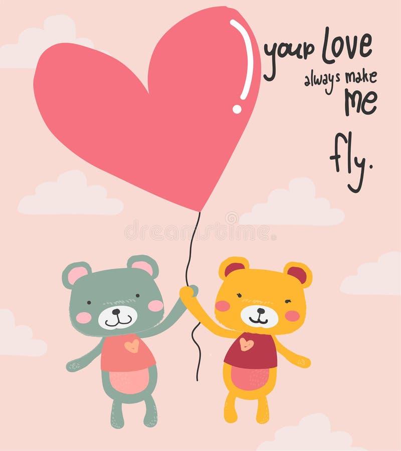 飞行与心脏的逗人喜爱的动画片玩具熊迅速增加,适用于卡片打印 库存例证