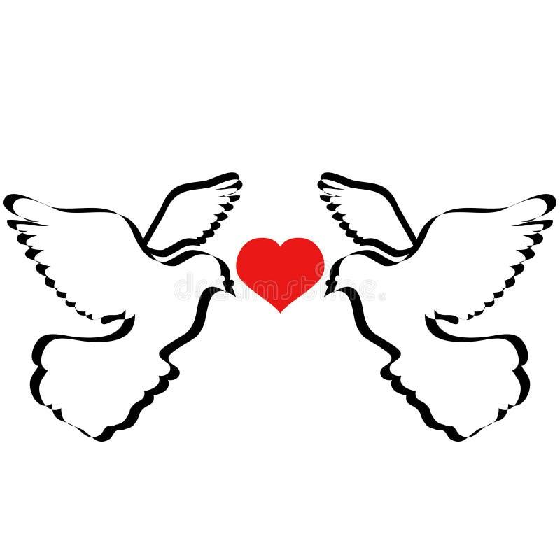 飞行与心脏的鸠 向量例证