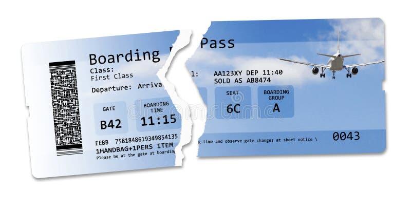 飞行与被剥去的机票的被取消的概念图象-图象不完全被发明和包含在版权下 免版税库存照片