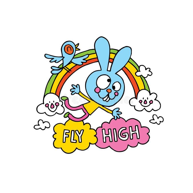 飞行与逗人喜爱的兔宝宝字符的高激动人心的海报设计 向量例证
