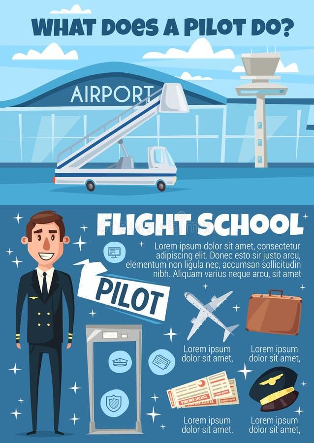 飞行与飞行员和机场的学校邀请 皇族释放例证