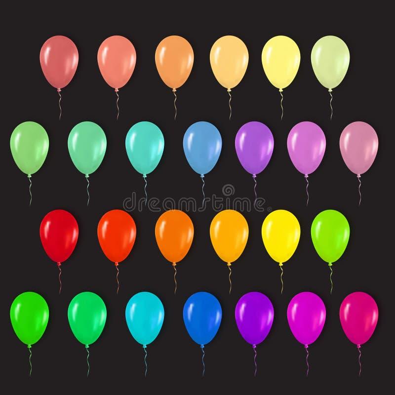 飞行为生日快乐的现实3d五颜六色的光滑的气球, 向量例证