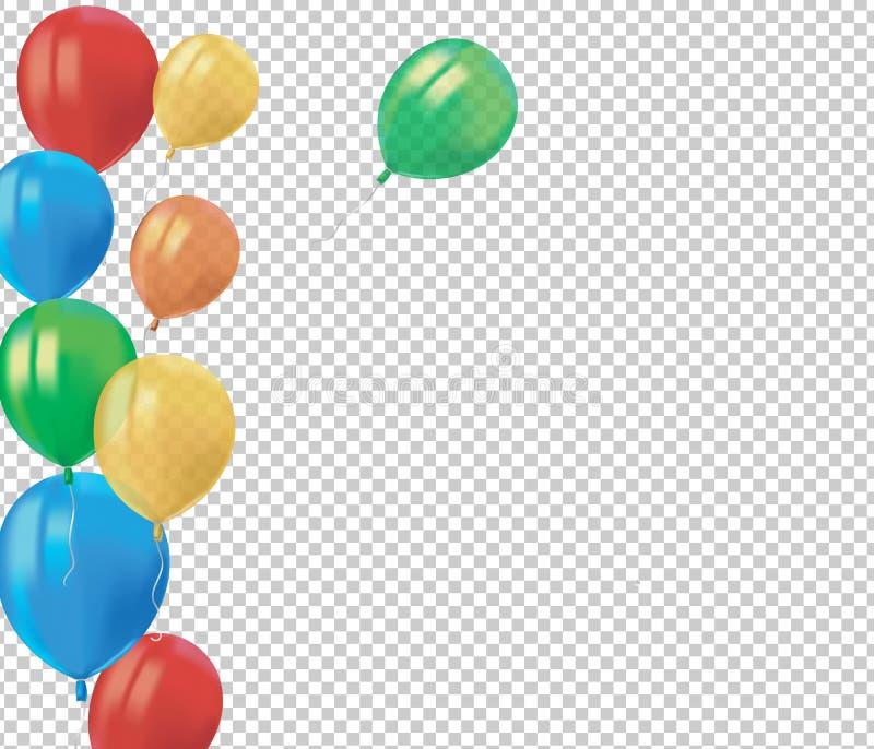 飞行五颜六色的气球与的现实空气的构成在透明背景反射隔绝 欢乐装饰元素为 皇族释放例证