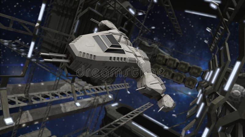 飞行入一个印象深刻的空间站 皇族释放例证