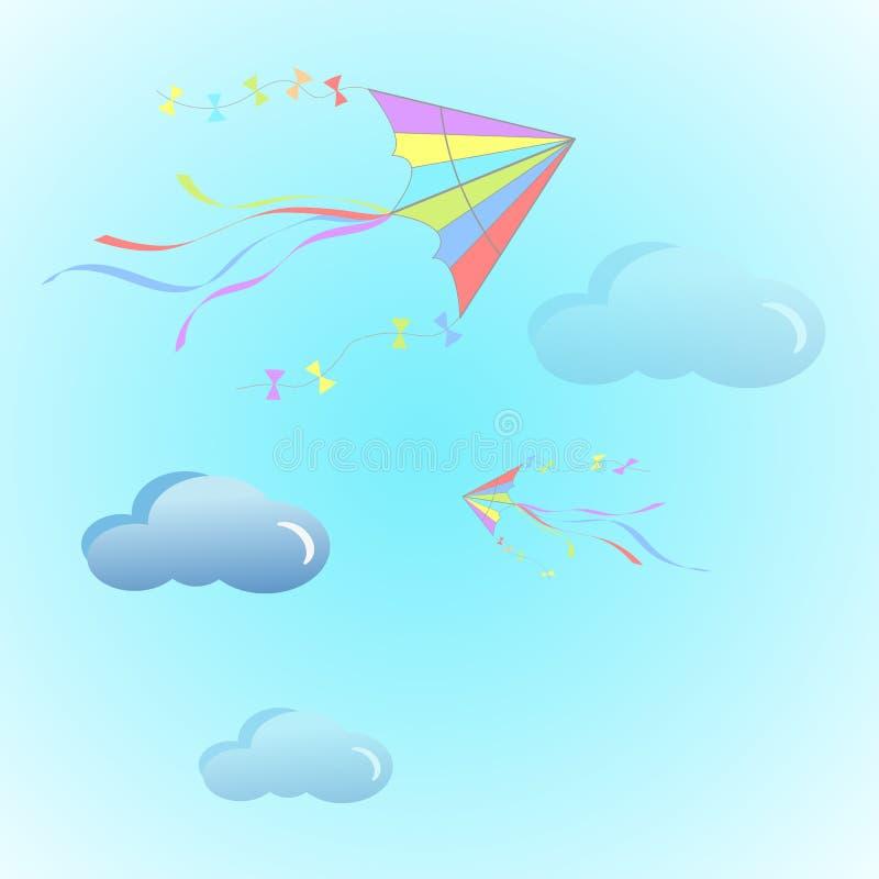 飞行冲浪在背景隔绝的云彩上的天空的颜色风筝 平的动画片设计 暑假,假期 向量 库存例证