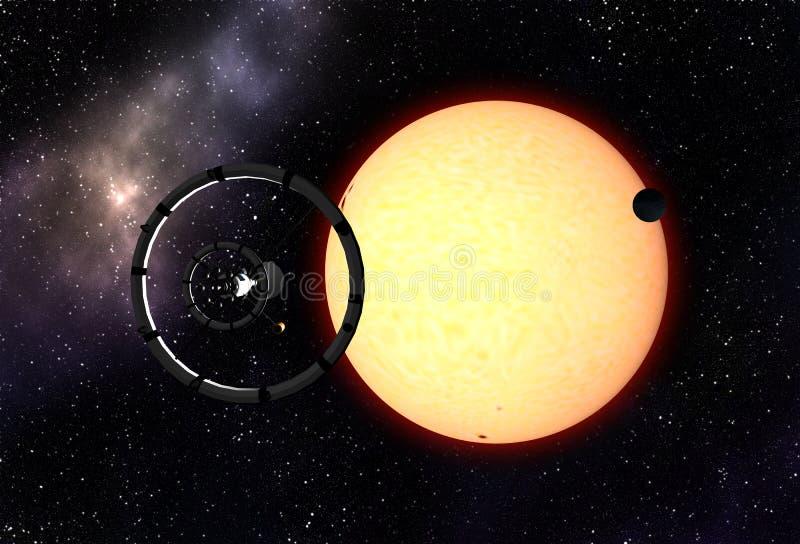 飞行到太阳的航天器 向量例证
