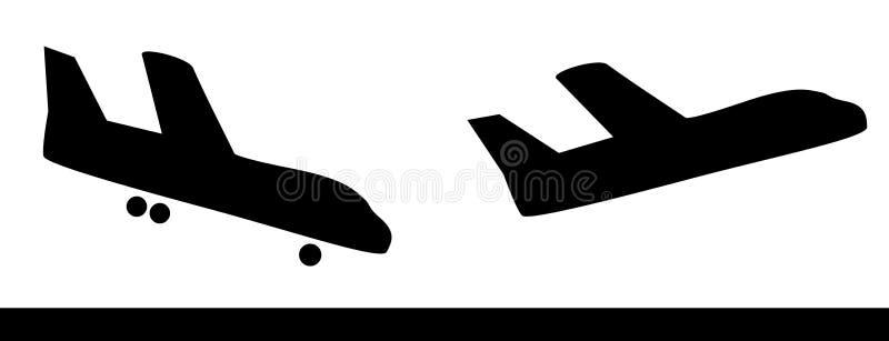 飞行剪影 库存例证