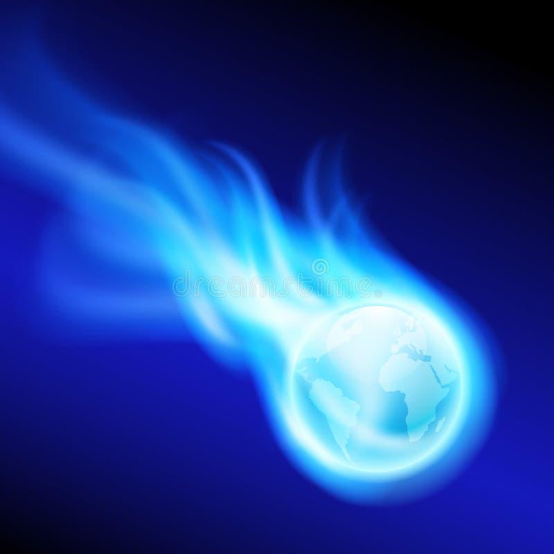 飞行发火焰在蓝色背景的地球 皇族释放例证