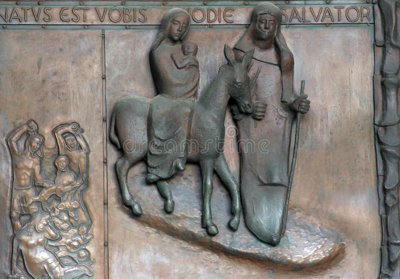 飞行向埃及,通告的大教堂,拿撒勒的门 图库摄影