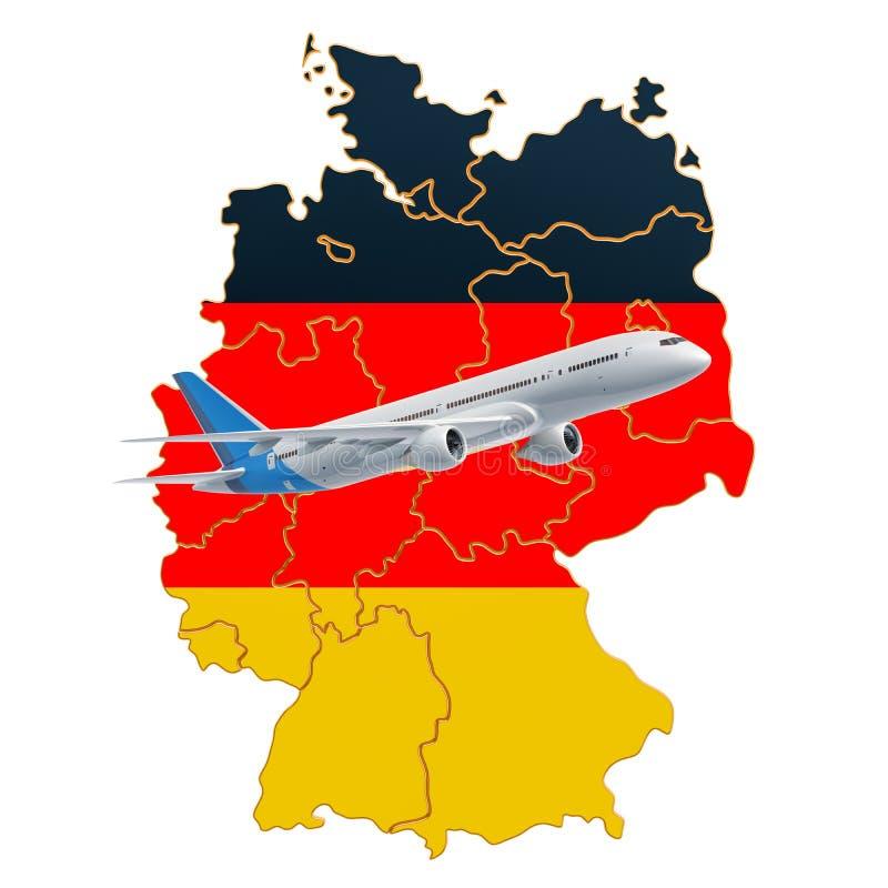 飞行向德国,旅行概念 3d?? 皇族释放例证