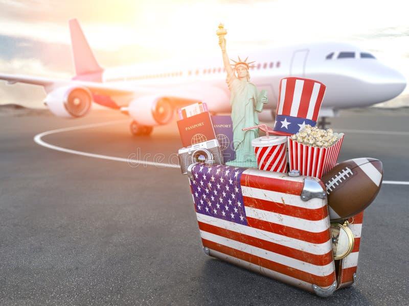 飞行向纽约,美国 与美国、旅行、旅行和旅游业的标志的葡萄酒suiitcase对美国概念 向量例证