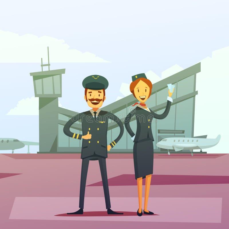 飞行员和空中小姐例证 向量例证