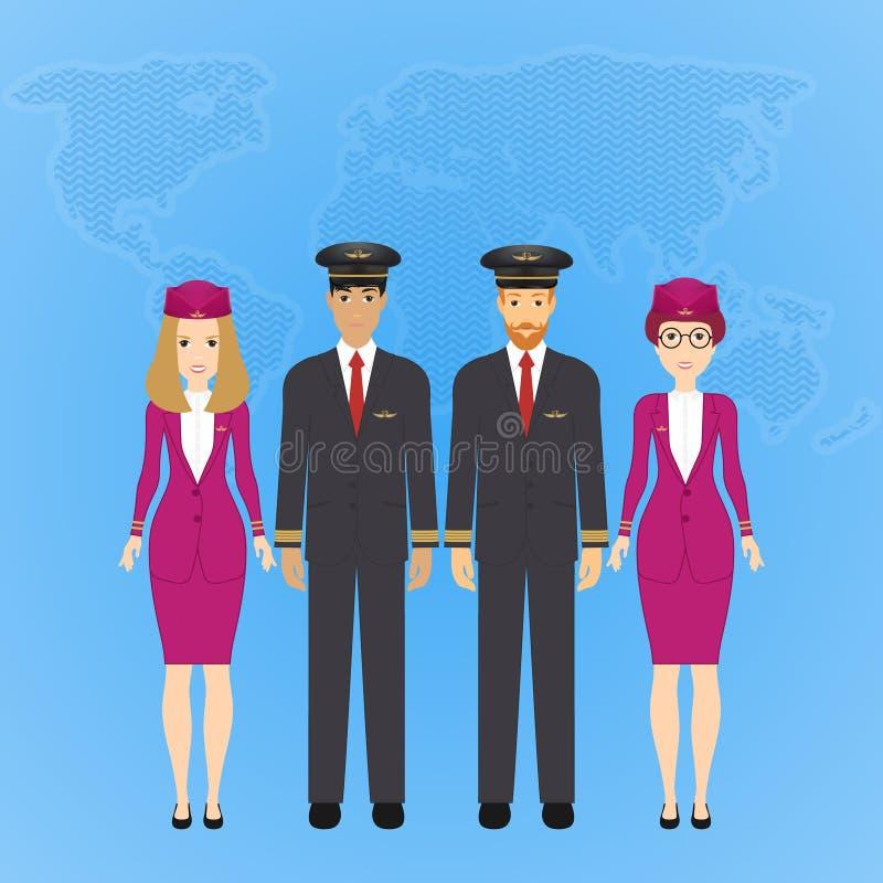 飞行员和空中小姐的传染媒介例证正装的在蓝色背景与世界的地图 皇族释放例证