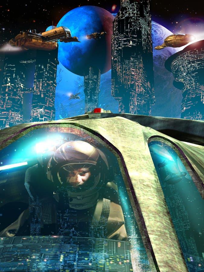 飞行员在未来派城市 皇族释放例证