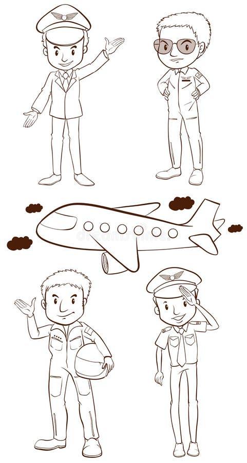 飞行员的简单的剪影 库存例证