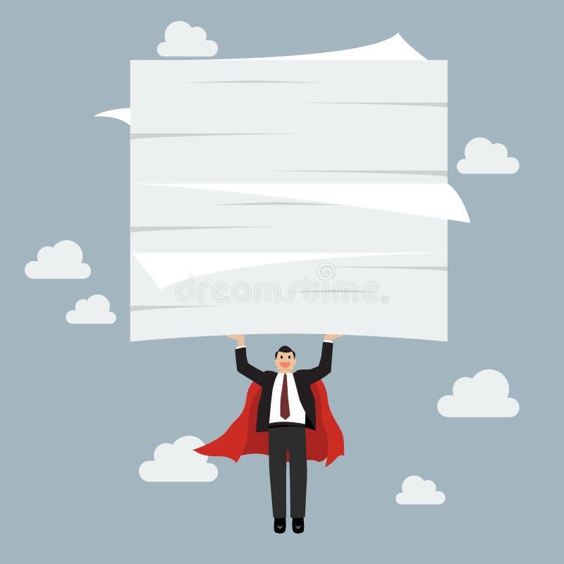 飞行和举很多文件的商人超级英雄 向量例证